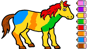 Small Picture Horse Coloring Page Drawing Horse Learn Colors for Kids YouTube
