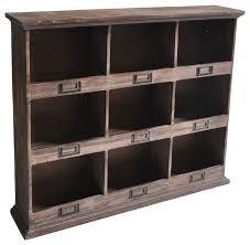 9 cubby wooden wall organizer