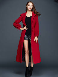 fashion red single ted thick hooded wool coat with belt