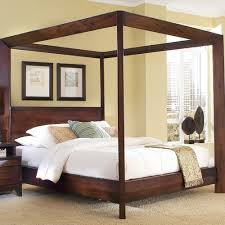 Island Chamfer Canopy Bed Modern Canopy Beds Cherry Wood Twin Bed
