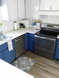 wood look luxury vinyl tile tuxedo blue gray kitchen n