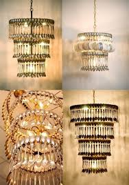 montage of four chandeliers made from cutlery and one made from tea cups and cutlery