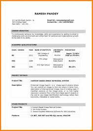 Resume Sample For Lecturer Post Fresher New Cv Format For Fresher