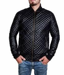 mens black quilted leather er jacket