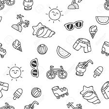 かわいい手描き夏シームレス テクスチャ概要のセット