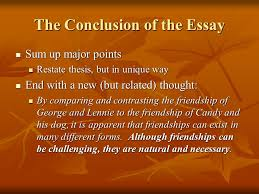 writing a comparison contrast essay discussing similarities  the conclusion of the essay sum up major points sum up major points restate thesis