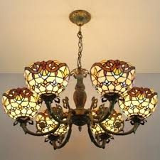 victorian 31 w bowl shape chandelier light with stained glass shade