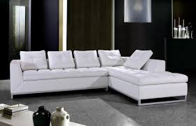 White Leather Sectional Sofa with Chrome Legs Modern Living