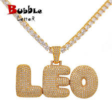 custom name bubble letters chain pendants necklaces men s zircon hip hop jewelry with 4mm gold silver