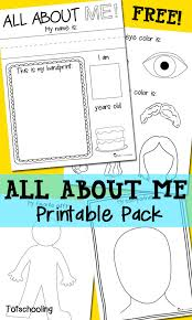 All About Me Free Printable Pack | Totschooling - Toddler ...