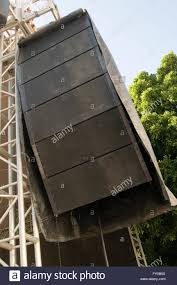 concert speakers system. stock photo - big speaker loud music pa public address sound system systems speakers concert rock stage stages traveling tour touring