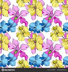 Mooie Gele Blauwe Roze Orchidee Bloemen Naadloze Achtergrondpatroon