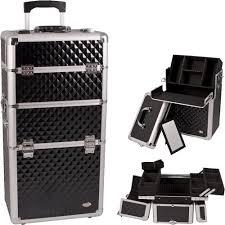 pro 2 in 1 aluminum makeup rolling train case cosmetic beauty organizer all black silver dot black diamond