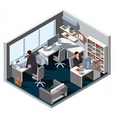isometric office furniture vector collection. Vector 3D Isometric Illustration Interior Office Room Furniture Collection E
