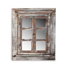 Melko Spiegelfenster Mit Fensterladen Und Ablage Shabby Chic Style