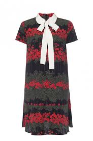 Patterned Dress With Short Sleeves Red Valentino Vitkac
