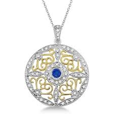 antique filigree sapphire diamond pendant 14k two tone gold