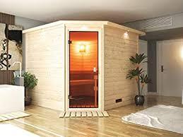 Captivating Karibu Sauna Donan Mit Dachkranz (Eckeinstieg)   Für Niedrige Räume