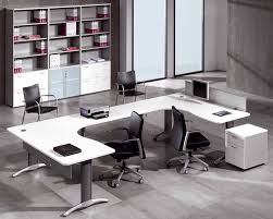 black and white office. U-Shaped White Office Desk Furniture With Large File Cabinet And Black Chair For Better Atmosphere