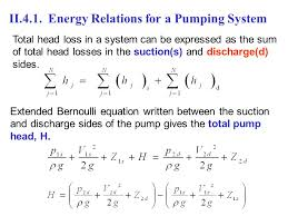 energy relations for a pumping system