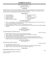 Assistant Manager Resume Samples For Customer Service Manager