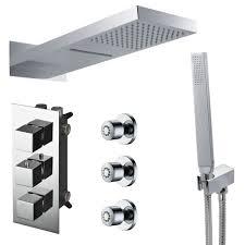 Duschset Komplett Regenschauer Wasserfall 4wege Unterputz Umsteller Thermostat Montagebox Massagedüsen Chrom Sanlingo