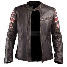 men s uk flag cafe racer leather jacket vintage leather motorcycle jacket
