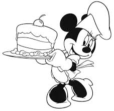 Minnie Serving A Birthday Cake In Mickey Mouse Clubhouse Coloring