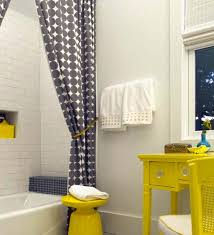 grey and yellow furniture. Grey Dot Curtains 70s With Yellow Furniture Bath And