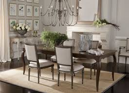 rectangle brown wooden ethan allen dining table with set of 4 dining chairs for dining room