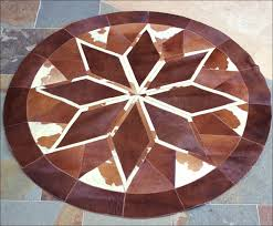 pure brazilian cowhide hair on leather patchwork 3d round rug natural zoom