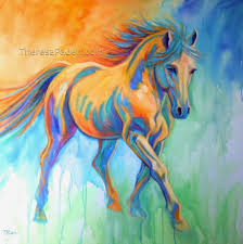 large colorful contemporary horse painting by theresa paden