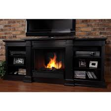 media console gel fuel fireplace in black