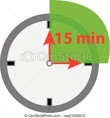 15 Min Timer Timer Icon 15 Minutes Isolated On White Background