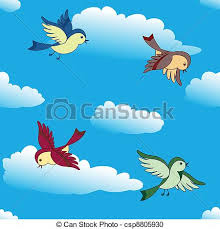 birds flying in the sky drawing. Birds Flying In Sky With The Drawing