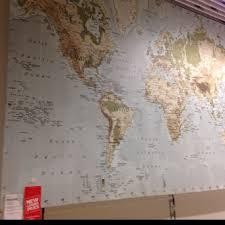 huge world map at ikea playroom wall