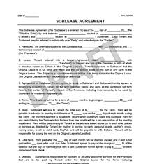 Sublease Agreement Samples Sublease Template Rome Fontanacountryinn Com