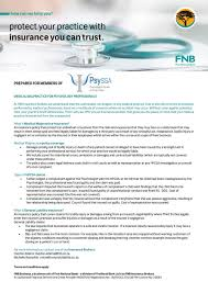 psyssa has negotiated a comprehensive indemnity insurance package on behalf of its members through fnb professional indemnity insurance as provided by