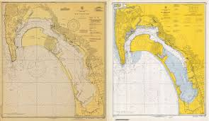 Left Nautical Chart Of San Diego Bay Of 1945 Right