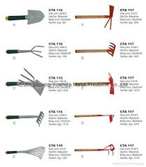 garden tools and equipment with names