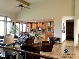 sherwin williams accessible beige in open concept layout vaulted 2 y ceilings in mountain retreat