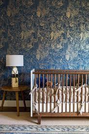 boy nursery with mid century modern crib
