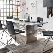 Esszimmertisch in Weiß Glas Edelstahl gebürstet küchentisch ...