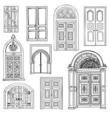 front door drawing. Door Set Collection Of Vintage Hand Drawn Doorway Vector Front Drawing