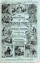oliver twist  cover first edition of serial entitled the adventures of oliver twist 1846 design by mother loda