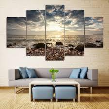 sea stone beach split canvas prints wall art paintings colormix 1pc 10 24