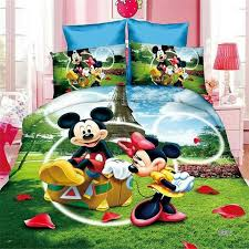 cute mickey minnie mouse duvet cover set single twin bed linen girl boy bedding set cartoon