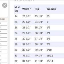 Miss Me Size Chart