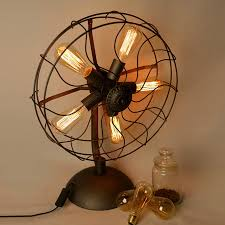 loft electric fan shape table lamps american country vintage iron desk lights 5 heads e27 edison