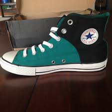 converse shoes black and blue. converse shoes - black/teal slip on high tops black and blue b